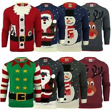Mens Xmas Christmas Jumper Novelty Threadbare 3D Santa Elf Crew Neck Sweater