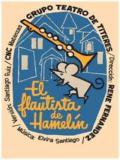 9745.el flautist de hamelín.Grupo teatro..mouse.POSTER.decor Home Office art