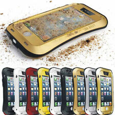 Waterproof Shockproof Aluminum Metal Bumper Tempered Glass Case Cover For iPhone