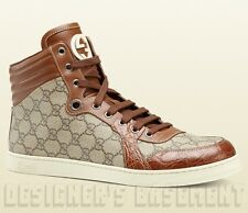 GUCCI Mens beige CODA GG Plus CROCODILE lace-up High Top Sneakers NIB Authentic!