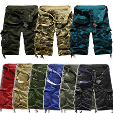 Mens Camouflage Military Army Cargo Camo COMBAT WORK Casual Pants Short Trousers