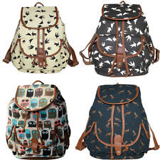 Cute Women's Vintage Canvas Satchel Backpack Rucksack Shoulder School Bag