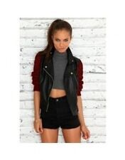 Missguided Faux Leather Look PU Biker Jacket w/ Burgundy Knit Sleeves MG1