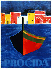 9836.Procida.boat in water in front of small town.POSTER.home decor graphic art