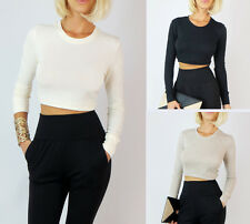 SEXY CROPPED KNIT PULL ON STRETCH LONG SLEEVE SOLID CREW NECK TOP SWEATER S M L