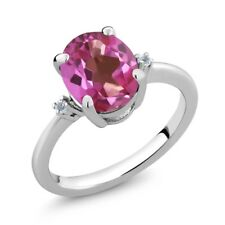 2.62 Ct Oval Pink Mystic Topaz White Topaz 925 Sterling Silver Ring