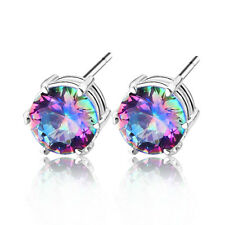 Christmas Gift Rainbow Mystic Topaz 925 Sterling silver Plated Wedding Earrings