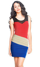 Donna Bella Casual Womens Summer Strapless Fitted Short Mini Multi-Colored Dress