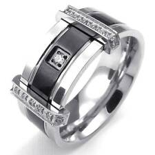 Mens Cubic Zirconia Stainless Steel Ring, Charm Elegant Wedding Band, Silver New