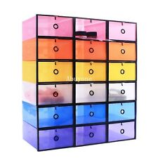 New Colorful Plastic Stackable Foldable Shoe Storage Box Organiser Case Boxes