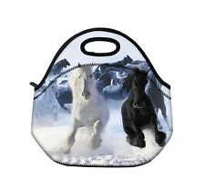 White Horse Thermal Insulated Tote Lunch Bag Cool Bag Cooler Lunch Box Handbag