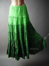 Green Ombre Dip-Dye Medieval Wench Gypsy Peasant Tiered Long Maxi 106 mv Skirt