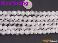 Round Crackle Frost Matte White Rock Quartz Crystal Beads For Jewelry Making 15""