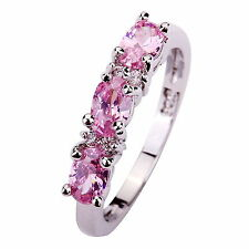 Oval Cut Pink Topaz Gemstones Silver Ring Size 6 7 8 9 10 12 Engagement Jewelry