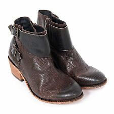 H By Hudson Women's Lumo Leather Zip Ankle Boot Brown