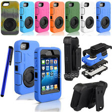 Heavy Duty Rugged Hybrid Hard Case Cover Belt Clip Holster for Apple iPhone 4 4S