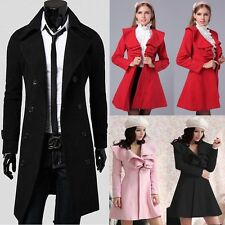 WINTER PROMOTION Men Women Trench Coat Overcoat Long Slim Jackets Peacoat Tops