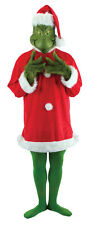 Dr Sueuss The Grinch Santa Christmas Adult Costume With Mask and Fur Gloves NEW