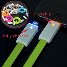 LED Bright Lightning 8 Pin USB Charger Data Cable Flat Cord For iPhone 5 5S 5C