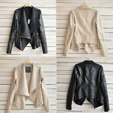 Fashion Vintage Women's Slim Biker Motorcycle PU Soft Leather Zipper Jacket Coat