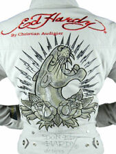 NEW ED HARDY CHRISTIAN AUDIGIER WOMEN'S PREMIUM JACKET PANTHER TAUPE SIZE SMALL