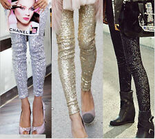 New women fashion  Shitsuke hin thin Gold sequins Gold sequins leggings