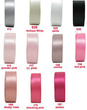 "25y-100y 38mm 1 1/2"" Grey White Black Pink Shades Double Faced Satin Ribbon Eco"
