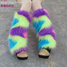 Colourful Winter Faux Fur Rave Christmas Fluffies Leg Warmers Furry Boot Covers