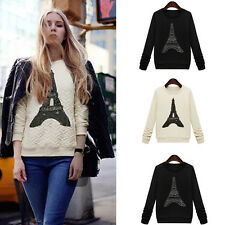 New Women Sweatshirt Pylon Print Long Sleeves Casual Pullover Blouse Tops S-XL
