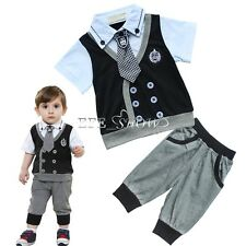 NEW Baby Boy Toddler Clothes T Shirt Tops+Pants 2Pcs Gentleman Outfit Set 6-24M