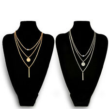 Fashion Women Chic Geometry Charms Crystal Diamante 3 Layers Cute Chain Necklace