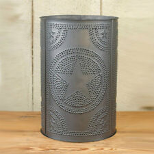 Primitive Punched Tin Waste Basket STAR WILLOW TREE DIAMOND Metal Trash Can
