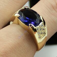 Size 9,10,11 NICE Jewelry Mens Sapphire 10KT Yellow Gold Filled Band Gem Ring