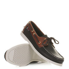 Mens Sebago Spinnaker Premium Leather Black Brown Boat Deck Shoes Uk Size 6-11.5
