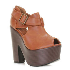 Ladies Platform High Heel Demi Wedgge Platform Cut Out Tan Shoe Boots Uk Size