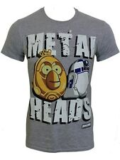 Star Wars Angry Birds R2-D2 C-3PO Metal Heads Mens Grey T-Shirt - NEW & OFFICIAL