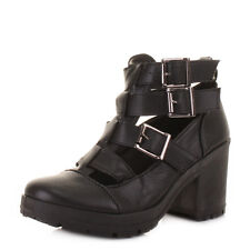 Womens Chunky Heeled Cut-Out Black Leather Style Ladies Ankle Boots Uk Size