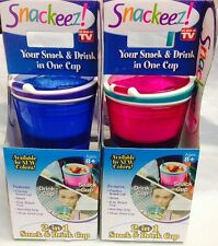 Hot Pink/Blue Snackeez Travel Cup Snack n drink In One Container As Seen On TV