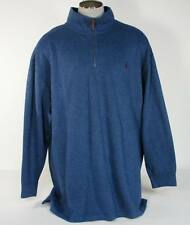 Polo Ralph Lauren Blue 1/4 Zip Cotton Sweater Dark Red Polo Pony Mens NWT