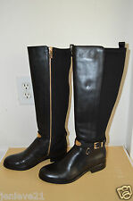 NEW MICHAEL KORS ARLEY LEATHER RIDING Shoes Boots Black $295 Stretch
