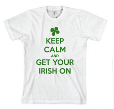 KEEP CALM AND GET YOUR IRISH ON Unisex Adult T-Shirt Tee Top