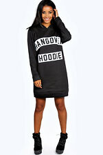 Boohoo Womens Leigh Long Sleeve Hangover Hoody Sweat Dress in Black