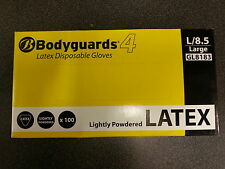 Bodyguards 4 White Disposable Latex Gloves Lightly Powdered - 100 Gloves GL818