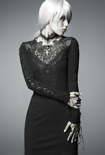 Punk Rave Black Nightingale Dress Goth Steampunk Lace Trim Long Sleeve
