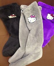 Hello Kitty ~ Slipper Socks ~ Purple - Gray - Black ~ New!
