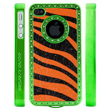 Apple iPhone 5 5S Gem Crystal Rhinestone Orange Black Zebra Leather case