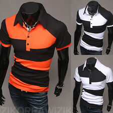 Mens Casual T-shirt Summer Short Sleeve Polo Tee Tops  Cotton Shirts Tee Tops