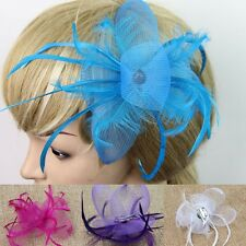 1Pc Charming Women Hat Cap Feather Bowknot Hair Clip Fascinator Wedding Party