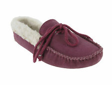 Chums Suede Leather Moccasin Slippers Womens Cosy Warm Wool Lining UK4-8