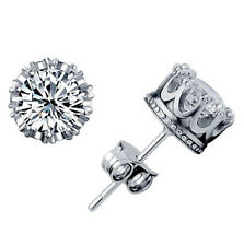 Hot Sell Chic 925 Sterling Silver Brilliant Cut CZ Crystal Stud Crown Earrings